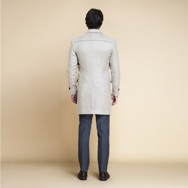 Cream Herringbone Wool Overcoat-mbview-2