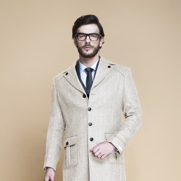 Cream Herringbone Wool Overcoat-mbview-3