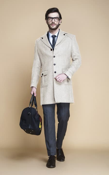Cream Herringbone Wool Overcoat