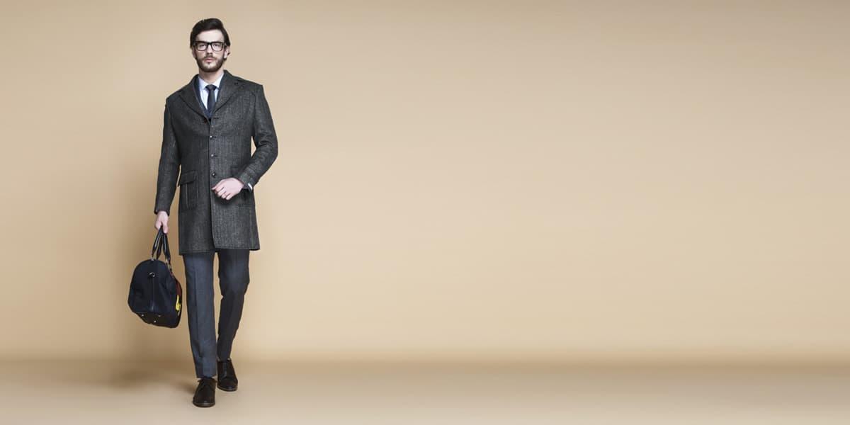 Steel Gray Herringbone Wool Overcoat- view-1