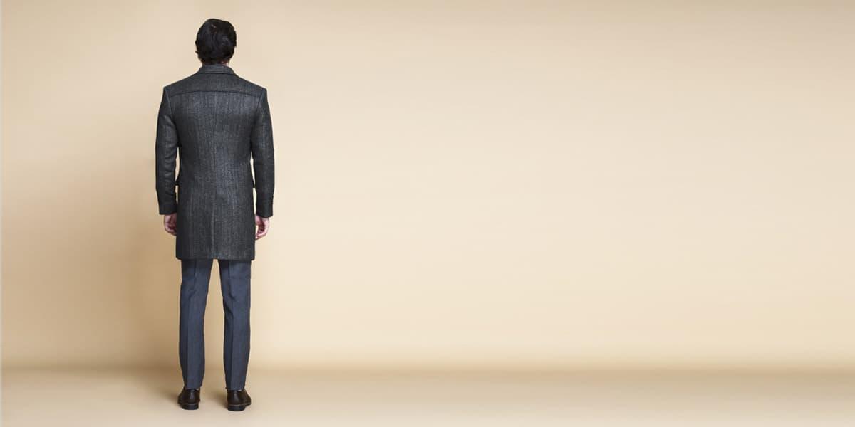 Steel Gray Herringbone Wool Overcoat- view-2
