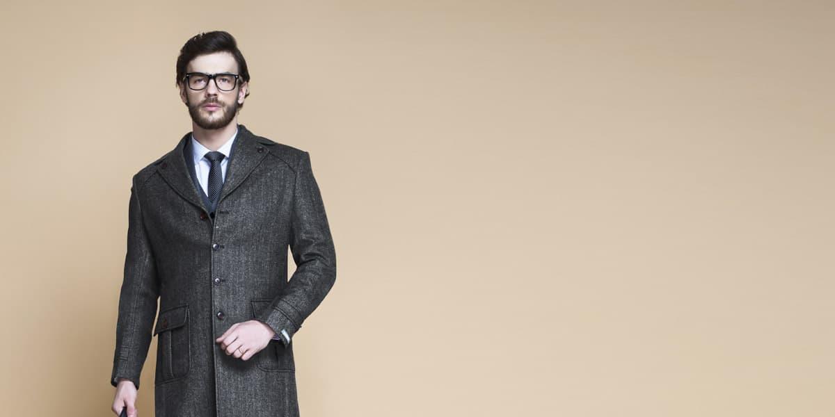 Steel Gray Herringbone Wool Overcoat- view-3