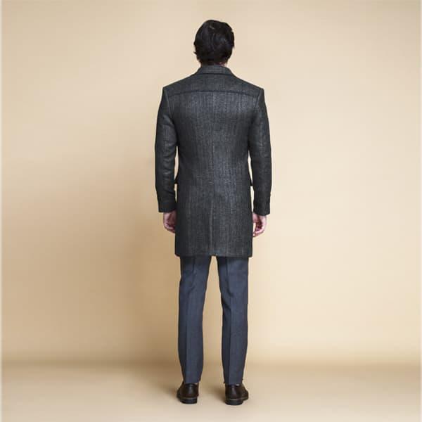 Steel Gray Herringbone Wool Overcoat-mbview-2