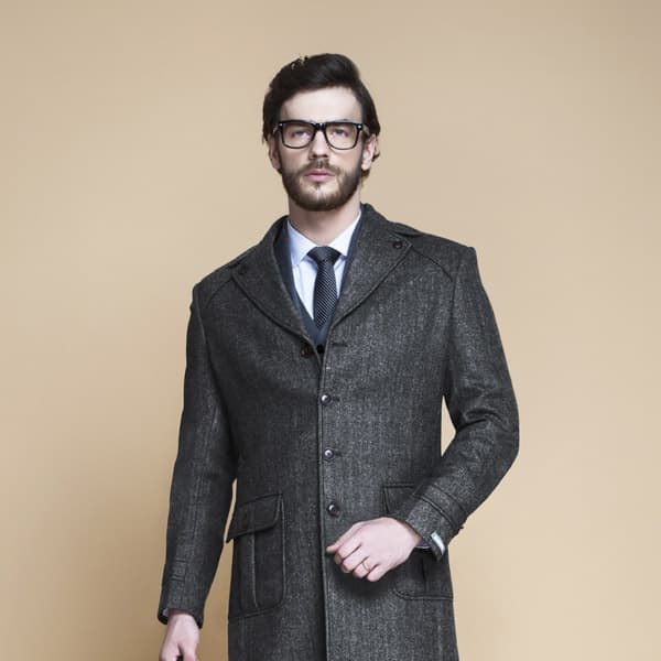Steel Gray Herringbone Wool Overcoat-mbview-3