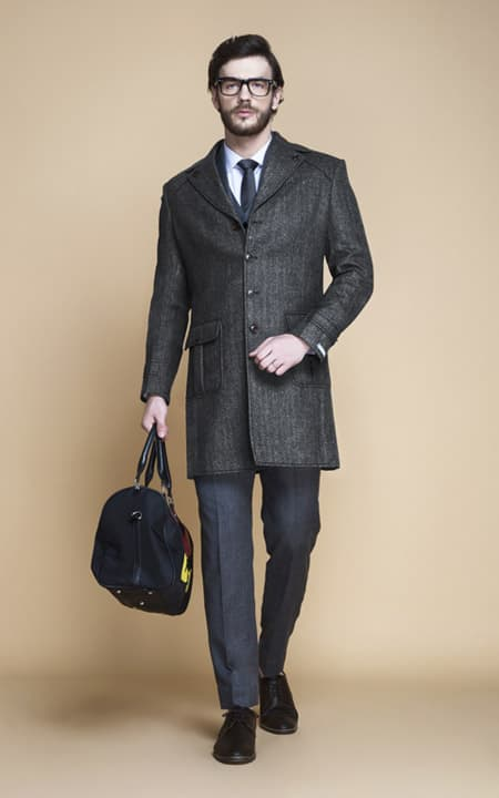 Steel Gray Herringbone Wool Overcoat