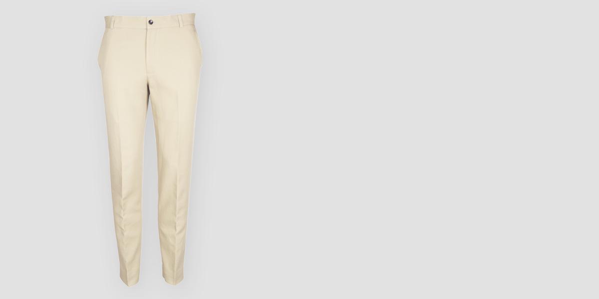 Pastel Beige Cotton Pants- view-1
