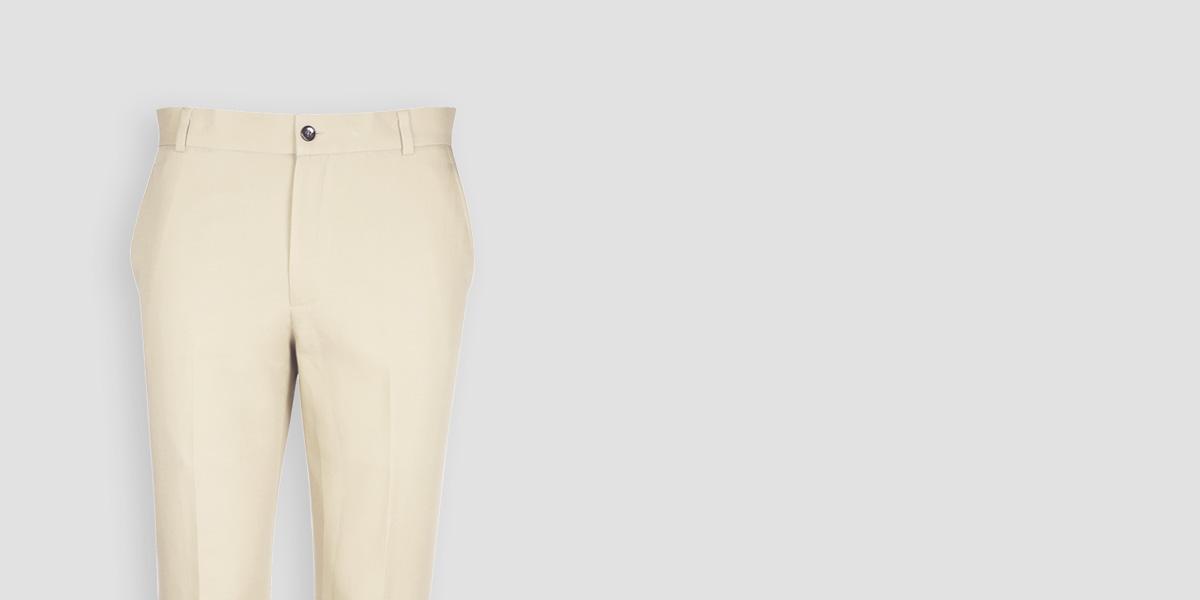 Pastel Beige Cotton Pants- view-3
