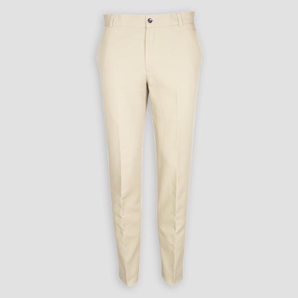 Pastel Beige Cotton Pants-mbview-1