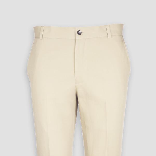 Pastel Beige Cotton Pants-mbview-3