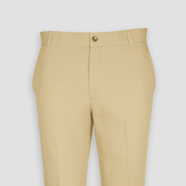 Khaki Brown Cotton Pants-mbview-3