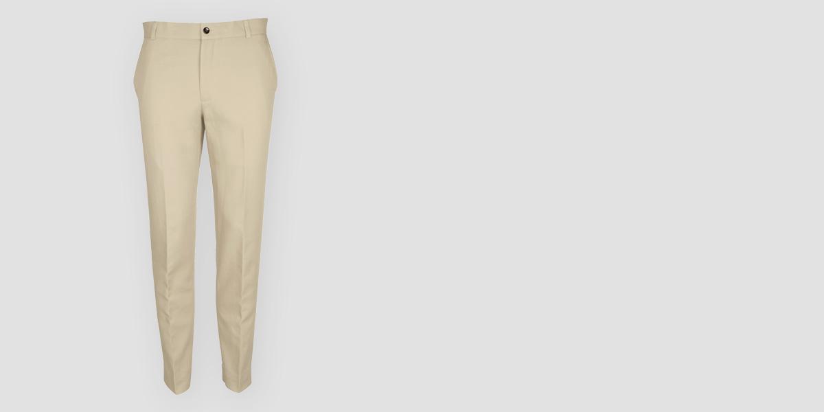 Light Beige Khaki Cotton Pants- view-1