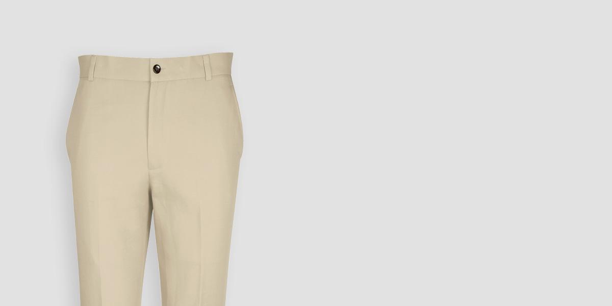 Light Beige Khaki Cotton Pants- view-3