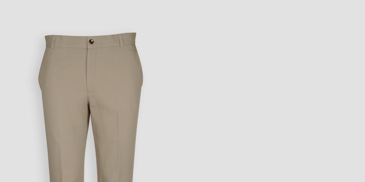 Pebble Brown Cotton Pants- view-3