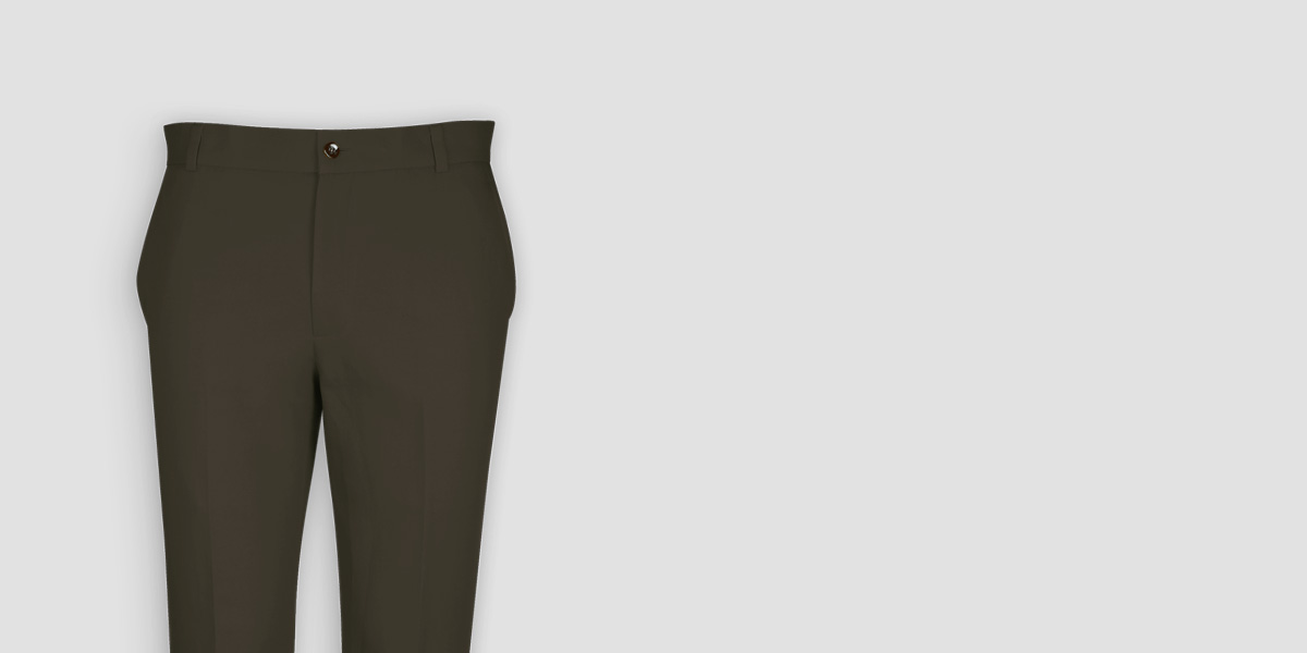 Taupe Green Cotton Pants- view-3