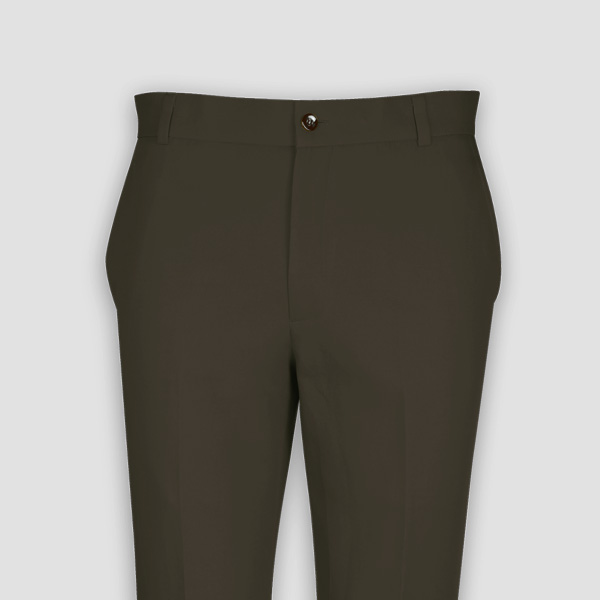 Taupe Green Cotton Pants-mbview-3