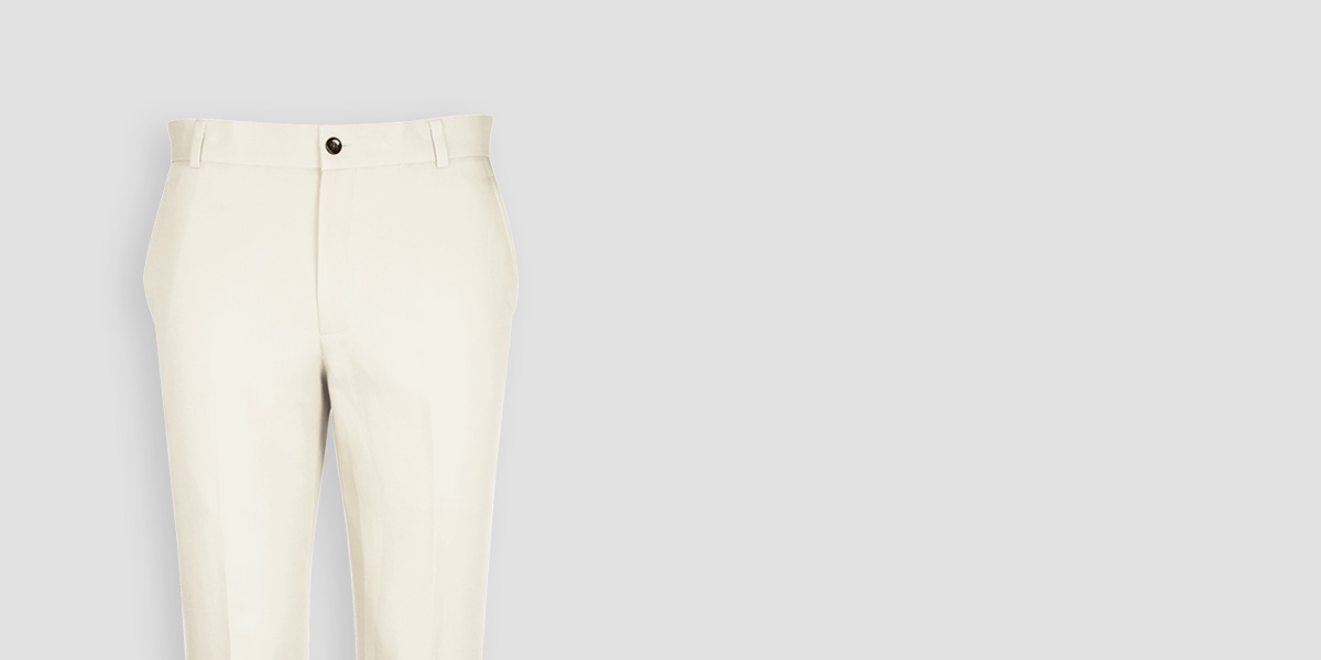 Cream Cotton Pants- view-3
