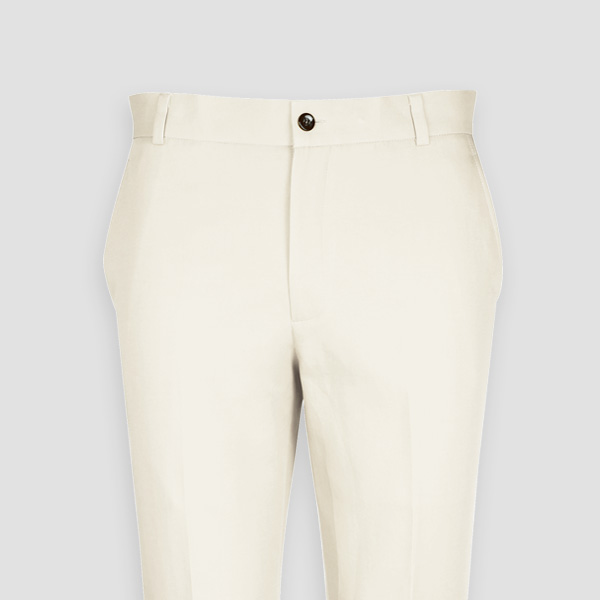 Cream Cotton Pants-mbview-3
