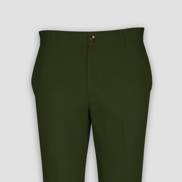 Olive Green Cotton Pants-mbview-3