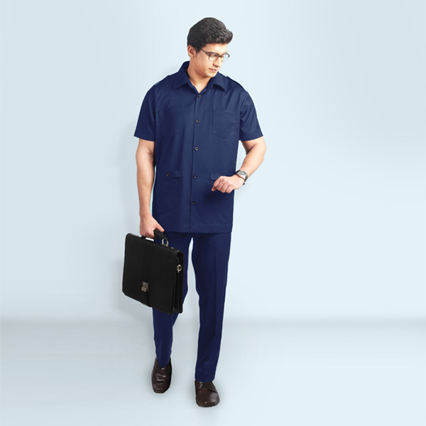 Navy Blue Safari Suit-mbview-1