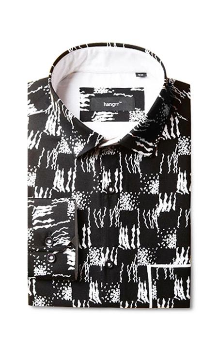 White Black Batik Print Shirt