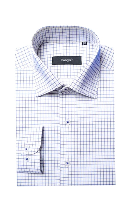 Navy And White Checks Shirt